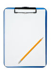 Pencil on clipboard. Isolated on a white Royalty Free Stock Photography