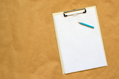 Pencil, clipboard and note paper as copy space. For business project notes, sketches or other text and graphic material Royalty Free Stock Photos