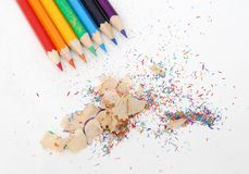 Pencil and clips royalty free stock photo