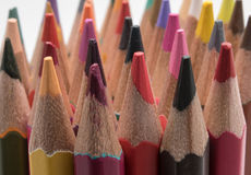 Pencil. Close up macro shot of color pencil pile pencil nibs Stock Images