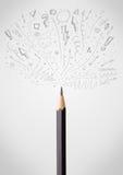 Pencil close-up with sketchy arrows. Coloured pencil close-up with sketchy arrows Stock Images