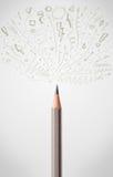 Pencil close-up with sketchy arrows. Coloured pencil close-up with sketchy arrows Stock Photos