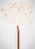 Pencil close-up with sketchy arrows. Coloured pencil close-up with sketchy arrows Royalty Free Stock Images