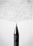 Pencil close-up with sketchy diagrams. Pen close-up with sketchy diagrams Stock Photos