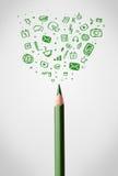 Pencil close-up with sketchy social media icons Stock Photos