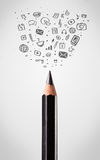 Pencil close-up with social media icons Royalty Free Stock Photos
