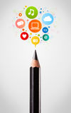 Pencil close-up with social network icons Royalty Free Stock Photos