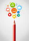Pencil close-up with social network icons Royalty Free Stock Image