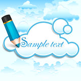 Pencil and cloud speech bubble on blue Royalty Free Stock Images