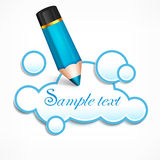 Pencil and cloud speech bubble. Text Stock Photo