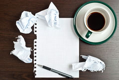Pencil, Coffee, Paper Stock Photo