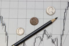 Pencil and coins . Dow Jones index. Pencil, coins and banknotes. Dow Jones index. currency rates on Forex Stock Image
