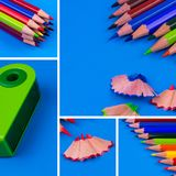 Pencil Collage On Blue Background. Back To Shool Concept Stock Image