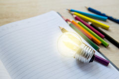 Pencil color, crayon on notebook Royalty Free Stock Photo