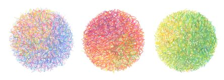 Pencil color scribble doodle circle on white background. Collection