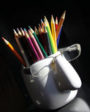 Pencil. Colored pencils of many colors royalty free stock image