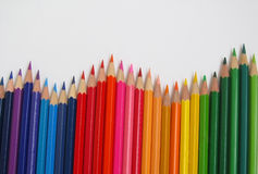 Pencil. Colored watercolor pencils stacked rainbow Royalty Free Stock Image