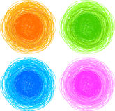 Pencil colorful hand drawn circles Stock Photo