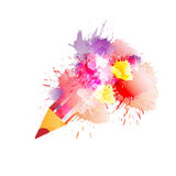 Pencil with colorful splashes Royalty Free Stock Photos