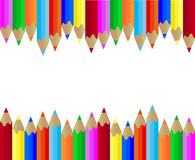 PENCIL COLORS. Colored pencils in two rows stock illustration