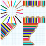 Pencil colors backgrounds. Set of colorful backgrounds with pencil colors on school paper sheets. Eps file available royalty free illustration