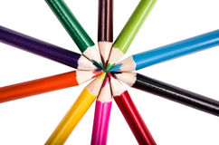 Pencil colors on a circle, white backgroiund. Pencil colors on a white backgroiund royalty free stock photography