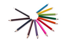 Pencil colors on a circle, white backgroiund. Pencil colors on a white backgroiund stock image