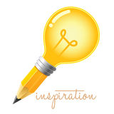 Pencil Combined With Light Bulb Inspiration Concept Stock Photo