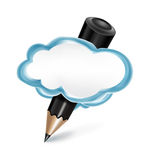 Pencil in communication cloud  on white Stock Images