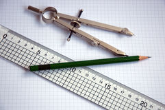Pencil compass and ruler Royalty Free Stock Photos