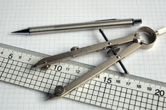 Pencil compass and ruler Royalty Free Stock Images