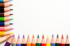 Pencil corner. Multi colored pencil in L shape Stock Photography