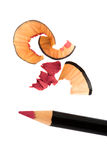 Pencil cosmetic sharpening with husk Stock Photo