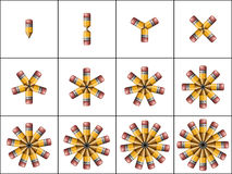 Pencil Counters. Counters. Illustration of pencils arranged in patterns containing 1 through 12 pencils each stock illustration