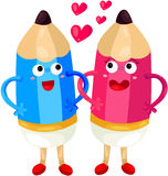 Pencil couple in love Royalty Free Stock Photos