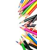 Pencil crayon border. Colorful vertical pencil crayon border over white Stock Images