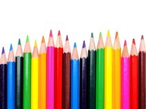 Pencil crayon border. Colorful wavy pencil crayon border over white Royalty Free Stock Photo