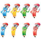 Pencil crayon cartoon character set Royalty Free Stock Photo
