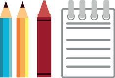 Pencil, Crayon & Notebook Royalty Free Stock Photos