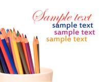 Pencil crayons. Colorful pencil crayons in a jar Royalty Free Stock Image