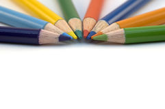 Pencil Crayons. Stack of wood pencil crayons used for artwork Royalty Free Stock Photos