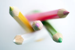 Pencil crayons. Shallow depth of field with focus on tips of the crayons Stock Image
