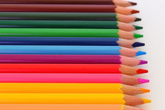Pencil Crayons. Colorful, aligned pencil crayons Stock Image