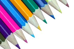 Pencil crayons. Cut out and isolated on a white background Stock Photos