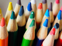 Pencil crayons. With green and blue colors Royalty Free Stock Photography