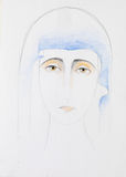Pencil hand drawn portrait of Mother Mary Royalty Free Stock Photography