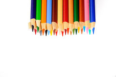 Pencil crayons. Isolated on white Royalty Free Stock Photography