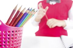 Pencil crayons in pencil holder Royalty Free Stock Photo