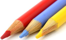 Pencil crayons, red, blue yellow primary colors Royalty Free Stock Image