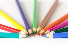 Pencil crayons. Semi-circle of colorful pencil crayons stock image